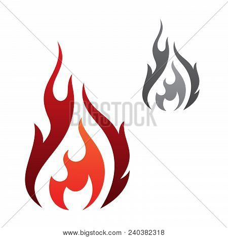 Abstract Flaming Vector Icon Isolated On The White Background. Flaming Fire Simple Shape Sign Symbol