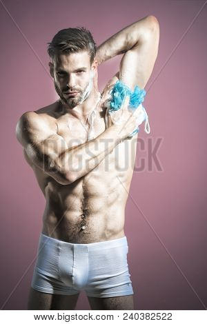 Skin Care, Spa, Beauty, People Concept - Sexy Macho, Man, Muscular Attractive Bearded Hipster In Box