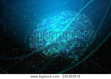 Creative Digital Brain Backdrop. Technology, Ai And Computing Concept. 3d Rendering