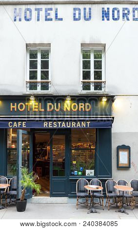 Paris, France-may 02, 2018 : H Tel Du Nord Is In Fact A Restaurant Inspired By The French Classic Mo
