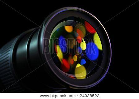 lens of the digital camera in colour light