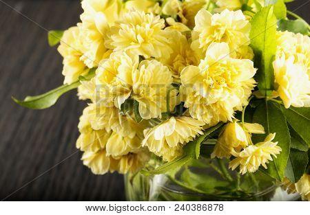 Yellow Chrysanthemums In Glass Jar, Horizontal Image