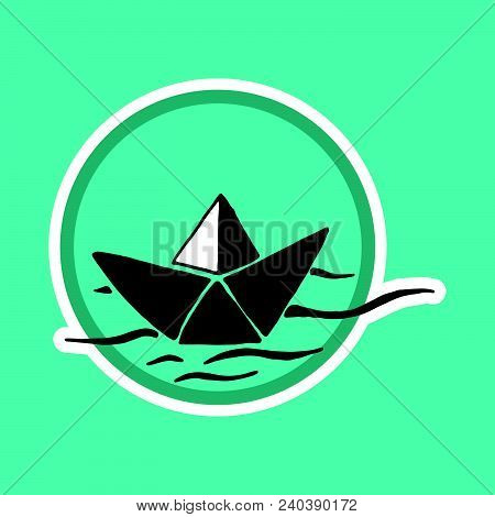 Logo With Paper Boat. Hand Drawn Origami Paper Ship. Vector Illustration Of An Icon, Logo, Ship Embl