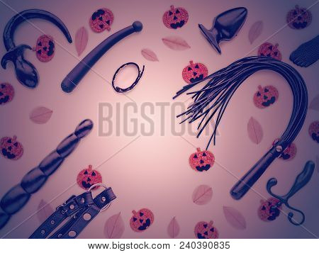 Sex Toys (whip, Vibrator, Dildo, Plug And Other), Fallen Leaves And Artificial Pumpkins With Terribl