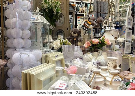St Ives, Cornwall, Uk - April 13 2018: Colourful Homeware And Decorative Items For Sale On Shelves I