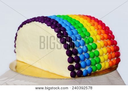 Rainbow Homemade Cake Decorated With Colourful Candies