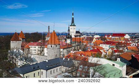 Tallinn Skyline, Estonia. Aerial View Of Tallinn. Tallinn Old Town, Estonia.