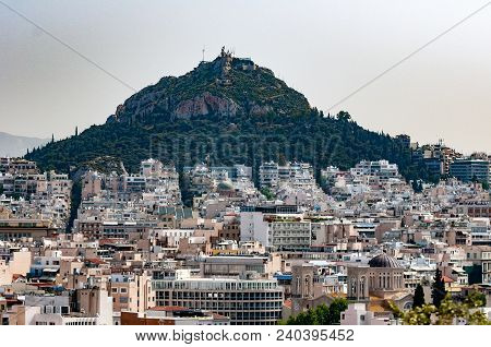 View Over The Spawling City Of Athens Towards Mount Lycabettus In Athens
