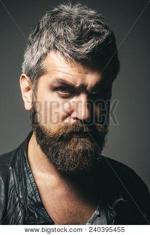 Fashion For Men. Seasonal Fashion. Portrait Of Cool Seductive Sexy  Man In Black Leather Jacket. Ser