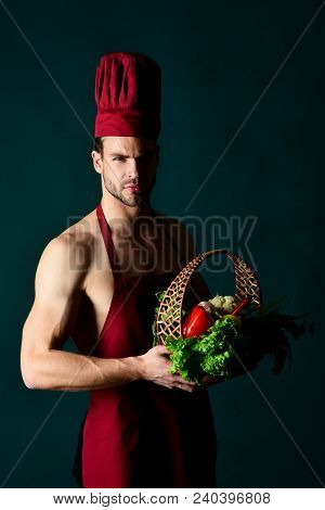 Diet, Healthy Food Cooking, Vegetarian Concept - Beautiful Chef - Man In Cook Uniform. Silhouette Of