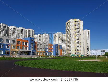 Khimki, Russia - Cityscape With Middle School Of A General Education