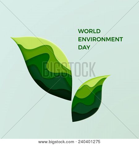 World Environment Day. Couple Of Green Leaves. Ecology And Care About Nature. Ecological Paper Cut L
