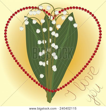 Greeting Card, Bouquet Of Lilies Of The Valley Surrounded By Coral Necklace In The Shape Of Heart On