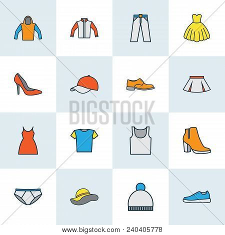 Dress Icons Colored Line Set With Gumshoes, Hoodie, Dress And Other Dress Elements. Isolated  Illust