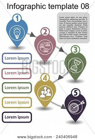 Infographic Process Visualization Template, Abstract Vector With Icons And Copy Space, Five Multicol