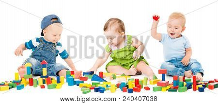 Children Play Blocks Toys, Kids Group Playing Colorful Building Bricks, Babies Isolated Over White B