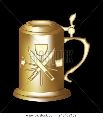 Brass Beer Tankard With Relief Of Malting Tools. 3d Photorealistic Pitcher On Black Background. Eleg