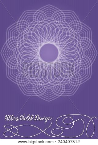 Ultraviolet Gradient Background With Monoline White Lace Patterns In Vintage Style, Trendy Purple Co