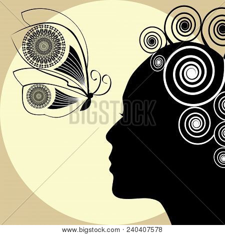 Woman Profile Silhouette, Black Silhouette On Yellow Background With Sunrays. Placard, Flyer, Leafle
