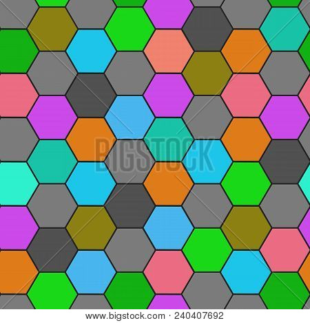 Hexagon Grid Seamless Vector Background. Stylized Polygons Six Corners Geometric Design. Trendy Colo