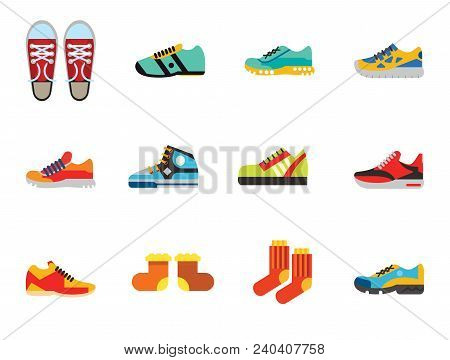 Shoes Icon Set. Sneakers Summer Shoes Sport Boots Trainer Jogging Shoe Gymshoe Running Shoe Football