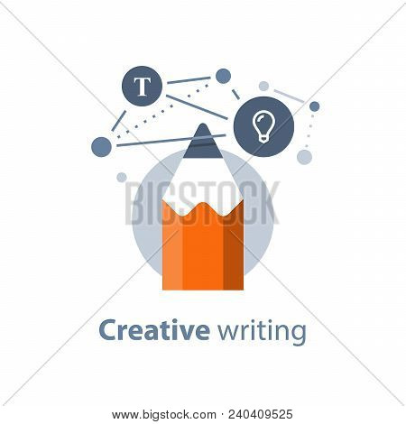 Creative writing, concept with pencil, storytellyng and copywriting, subject learning, design solution, vector icon, flat illustration poster