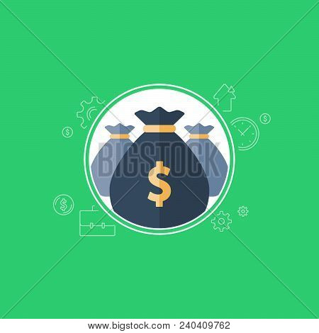 Banking services, financial dividends, return on investment, budget planning, money bag, income growth, pension fund, retirement savings account, superannuation, finance loan, vector flat icon poster