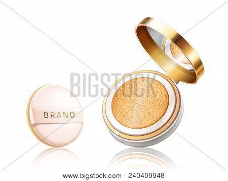 Cosmetic Foundation Case. Open Container With Liquid Foundation Or Powder With Pillow Isolated On Wh