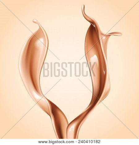 Liquid Foundation Elements. Splashing Beige Liquid, Flow Of Creamy Texture Isolated On Background. V