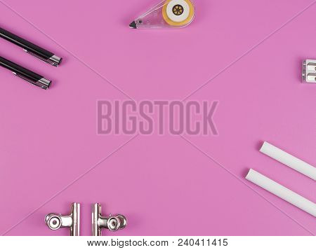 Stationery Supplies Consisting Of Pen Calculator Paper Clips And Pencil