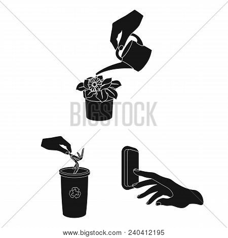 Manipulation By Hands Black Icons In Set Collection For Design. Hand Movement Vector Symbol Stock  I