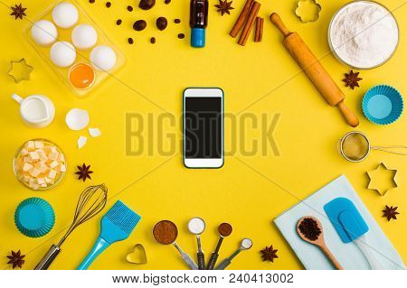 Kitchen Baking Mobile Phone Application Service Website Mockup With    Eggs, Butter, Milk, Floor, Sp