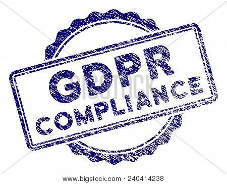 Gdpr Compliance Stamp Seal. Vector Element With Grainy Design And Corroded Texture In Blue Color. De
