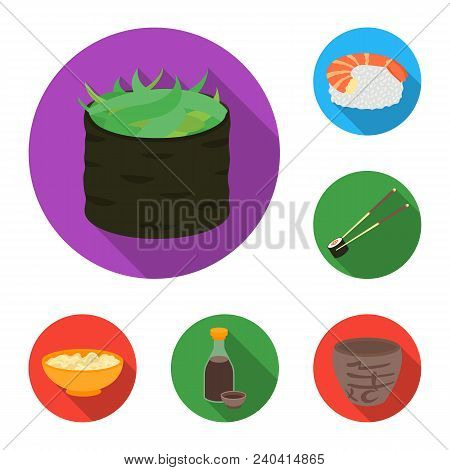 Sushi And Seasoning Flat Icons In Set Collection For Design. Seafood Food, Accessory Vector Symbol S
