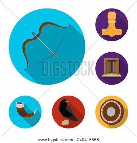 Vikings And Attributes Flat Icons In Set Collection For Design.old Norse Warrior Vector Symbol Stock