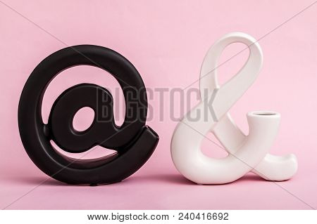Decorative Black Email And White Symbol On Pink Background