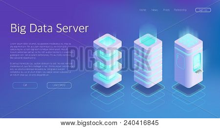 3d Vector Isometric Set Of Big Data Center Server Concept. Technology For Analysis Information In Da