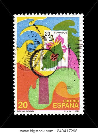Spain - Circa 1989 : Cancelled Postage Stamp Printed By Spain, That Shows Children Drawing.