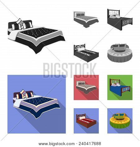 Different Beds Monochrome, Flat Icons In Set Collection For Design. Furniture For Sleeping Vector Is