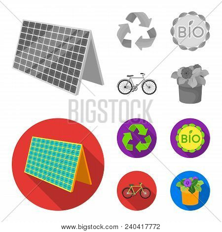 Bio Label, Eco Bike, Solar Panel, Recycling Sign.bio And Ecology Set Collection Icons In Monochrome,
