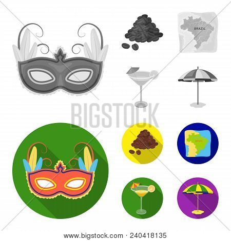 Brazil, Country, Mask, Carnival . Brazil Country Set Collection Icons In Monochrome, Flat Style Vect