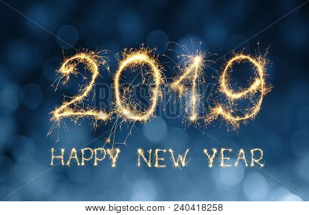 Greeting Card Happy New Year 2019. Beautiful Holiday Web Banner With Golden Text Happy New Year 2019