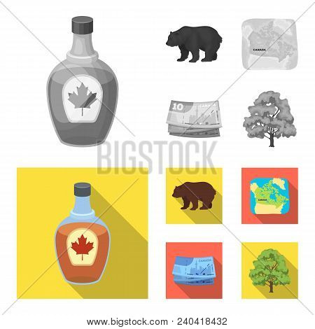 Canadian Dollar, Territory Map And Other Symbols Of The Country.canada Set Collection Icons In Monoc