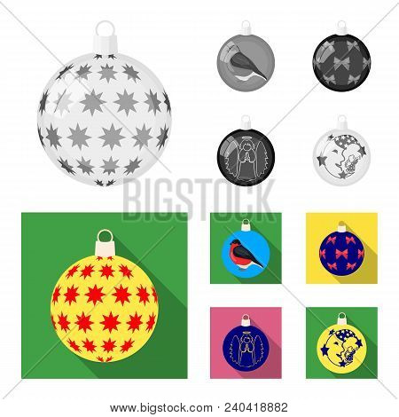 New Year Toys Monochrome, Flat Icons In Set Collection For Design.christmas Balls For A Treevector S