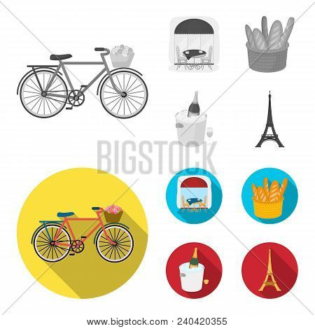 Bicycle, Transport, Vehicle, Cafe .france Country Set Collection Icons In Monochrome, Flat Style Vec