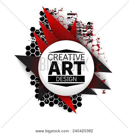 Black and red baner design with dirty hexagonal gird. Cards, invitations, gift cards, flyers and brochures. Vector. poster