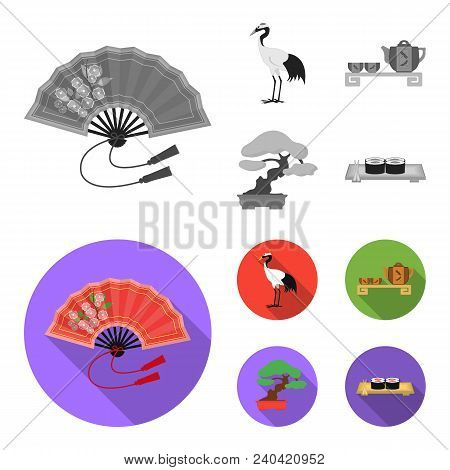 Fan, Red Crown Crane, Tea Ceremony, Bonsai.japan Set Collection Icons In Monochrome, Flat Style Vect