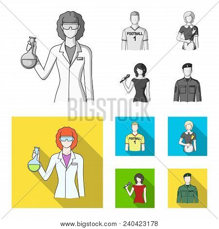 Woman Chemist, Football Player, Hotel Maid, Singer, Presenter.profession Set Collection Icons In Mon