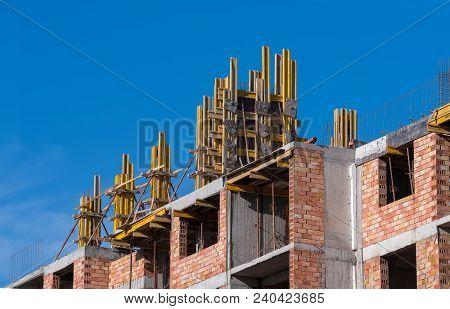 Build On The Floor Formwork Construction Team Home. Building A New House.
