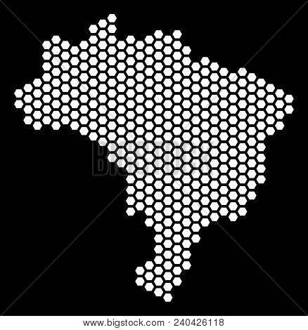 Hex Tile Brazil Map. Vector Geographic Plan On A Black Background. Abstract Brazil Map Collage Is Cr
